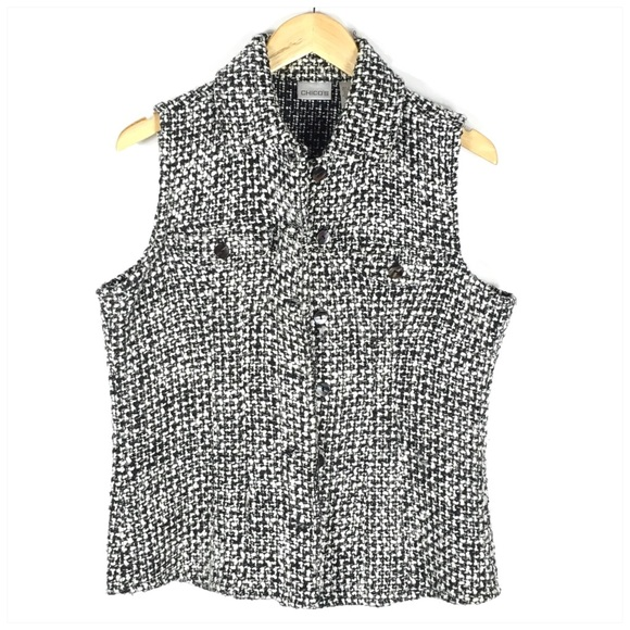 Chico's Jackets & Blazers - Chico's Black White Sleeveless Boucle Jacket Vest